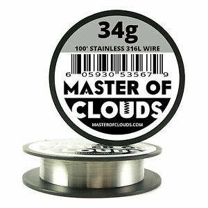 Ss 316l 100 Ft 34 Gauge Awg Stainless Steel Resistance Wire 0 16 Mm 34g 100