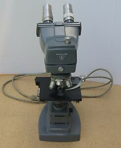 Bausch And Lomb Lab Stereo Microscope With 4 Objective Lenses Base And Light