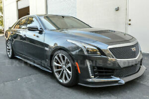 Fit 16 Up Cadillac Cts V Carbon Fiber Package Style Front Bumper Lip Splitter
