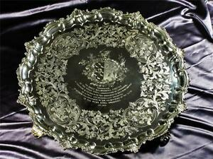 An Important Paul Storr Gladstone Solid Silver Presentation Salver 228 Ozs