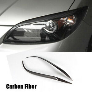 Carbon Fiber Headlight Cover Eyelids Eyebrows Trim For Mazda 3 Sedan 4door 07 11