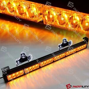 25 Inch 24 led Amber Light Emergency Warn Strobe Flash Yellow Bar Hazard Dash