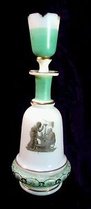 Victorian Brandy Decanter Opaline Glass Enameled Shot Glass Stopper