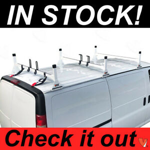 Ladder Roof Racks Steel White Rack Fits Chevy Express Fullsize Van 3 Bar 1996 On