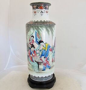12 7 Antique Chinese Famille Rose Thin Porcelain Vase W Ladies