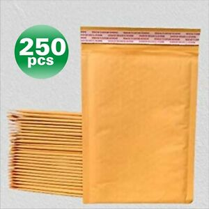 Polycyberusa 250 Pcs 0 Kraft Bubble Envelopes Mailers 6 5 X 10 inner 6 5x9