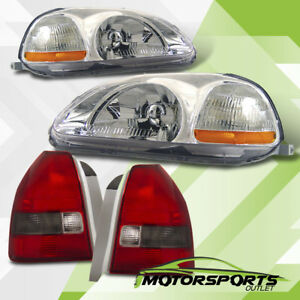 For 1996 1998 Honda Civic 3dr Hatchback Chrome Headlights Red Smoke Tail Lamps