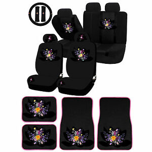 26pc Flower Splash Wild Flower Bouquet Universal Seat Cover Carpet Mat Set Car