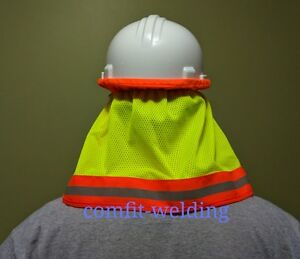 Hard Hat Neck Protective Shield Sun Shade Hi Vis Reflective Stripe
