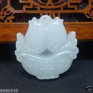 100 Natural Hand Carved Chinese White Jade Pendant Fish