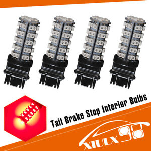 4 Pcs Pure Red 3157 68 Smd Led Light Bulbs Brake Tail Stop Lights 3057 3457 3528