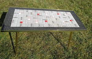 Vintage Mid Century Modern Coffee Side Occasional Table Mosaic Tiles Brass Legs