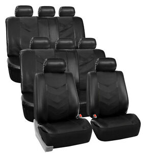 3 Row Car Seat Covers Leather 8 Seater Suv Van Set Black