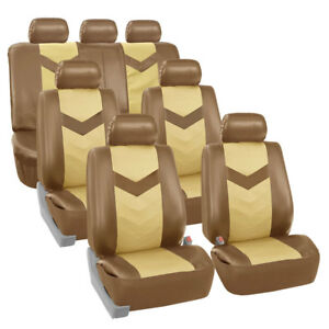 3 Row Car Seat Covers Leather 7 Seater Suv Van Set Beige
