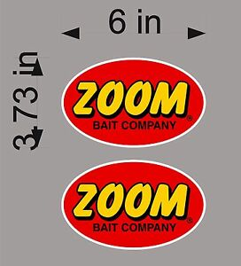 Zoom Fishing Logo 6 Pair Vinyl Vehicle Graphic Decals Boat Tackle Gear