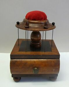 Rare Early American Sewing Box Pin Cushion C 1840 Primitive Cabinet