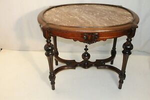 American Victorian Walnut Carved Marble Top Parlor Center Table 19th Century