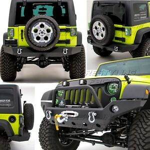 Front Bumper W Oe Fog Light Hole Full Width Rear Bumper For 07 18 Jeep Wrangler