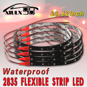 4x 60cm Red Flexible Led Strip Brake Tail Stop Light Underbody Car Motor 12v Us