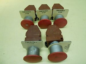 Ge Push pull Emergency Stop Button With Contact Block And Tag Lot Of 5