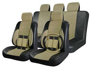 Faux Leather Seat Cover For Suv Truck Van Black Beige Tan 17pc Steering Wheel