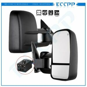 For 1999 02 Silverado Truck Manual Extend Towing Power Heated Side Mirrors Pair