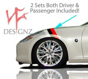 Fender Hash For Nissan 350z 370z Nismo Style 3 Racing Stripe Vinyl Decal Sticker