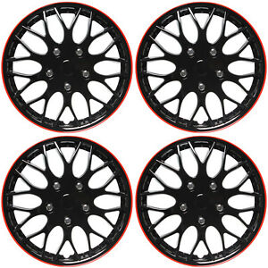 4 Pc Set Of 16 Ice Black Red Trim Hub Caps Skin Rim Cover For Steel Wheel Cap