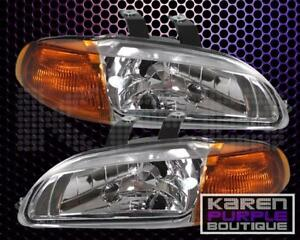 Honda Civic 92 93 94 95 4dr Sedan 1pc Jdm Chrome Amber Headlight Left Right