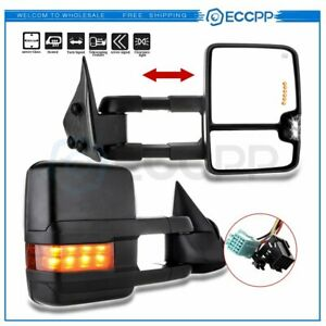 Pair For 03 07 Chevy Gmc Towing Power Heated Signal Clearance Light Side Mirrors