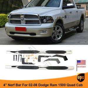 4 Chrome Running Board For 02 08 Dodge Ram 1500 2500 3500 Quad Cab Ss Side Step