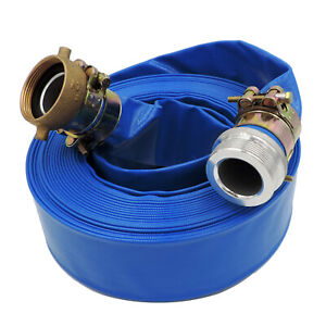2 X 50 Heavy Duty Pvc Lay Flat Water Discharge Hose With Pin Lug Connector