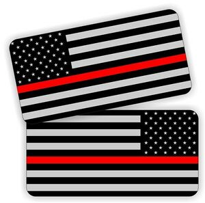 2 Firefighter Emt American Flags Helmet Hard Hat Stickers Flag Decals Labels Usa
