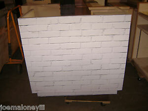 Kiosk Retail Counter White Faux Brick Wrapped Look 1024 48 X 25 X 45