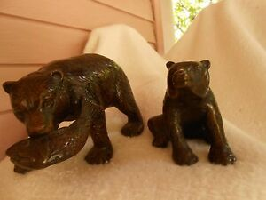Vintage Cast Iron Bears Door Stop Statue Japan Heavy Metal Mt Fuji