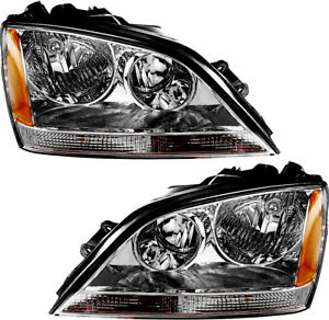 New Headlights chrome Set Pair For 2005 2006 Kia Sorento w o Sport Package