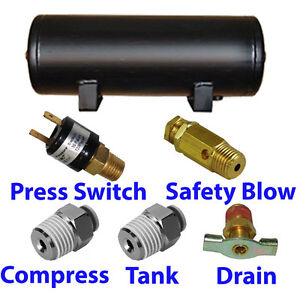 9 Gallon Air Tank 5 port Train Horn Air Suspension With All Fittings