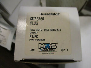 Russellstoll 3750 30 Amp 250 Volt 2 Wire 3 Pole Pin sleeve Plug New Ps60