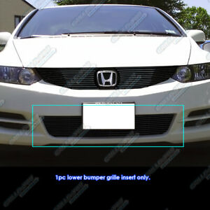 Fits 09 11 2011 Honda Civic Coupe Bumper Black Billet Grille