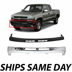 New Steel Front Bumper Kit W Upper Cover Pad For 1999 2002 Chevy Silverado 1500
