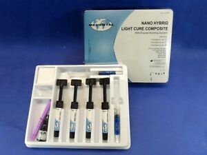 Dental Nano Hybrid Light Cure Composite Complete Set Kit 4 Syringe Medental
