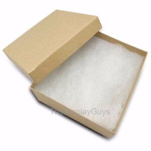 Us Seller 50 Pcs 3 3 4 x3 3 4 x2 Kraft Cotton Filled Jewelry Gift Boxes