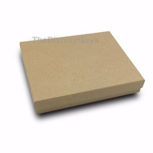 Us Seller 100 Pcs 6 1 8 x5 1 8 x1 1 8 Kraft Cotton Filled Jewelry Gift Boxes