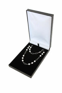 12pcs Black Deluxe Leather Necklace Jewelry Display Box Case 4 3 4x7 3 8 x1 1 8