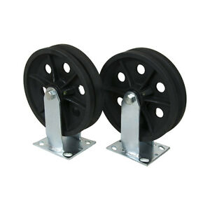 8 X 2 V grooved Steel Wheel Caster Set Of 2 1 000 Lbs Capacity ea