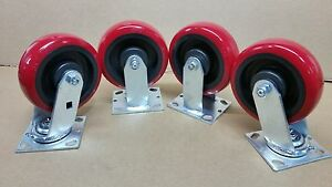 6 X 2 Heavy Duty Polyurethan Wheel Caster Set Of 4 900 Lbs ea capacity