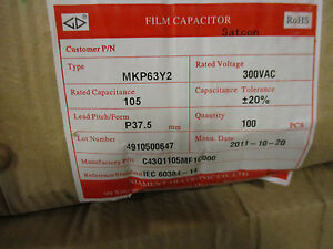 Xiamen 100 Film Capacitors 300 Vac 105mf New