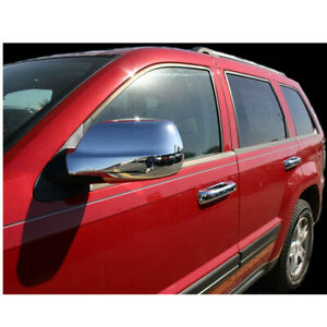 For 11 19 Jeep Grand Cherokee Full Chrome Side View Mirror Covers Caps Set 2pc