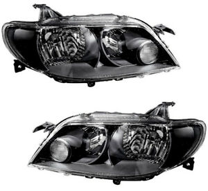 Headlights Headlamps Black New Set Pair For 02 03 2002 2003 Mazda Protege5