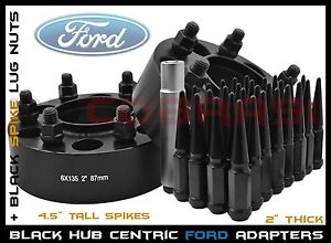 2 Pc Ford F 150 6x135 2 Hub Centric Wheel Spacers Black Spiked Lug Nuts